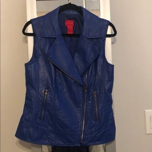 Jackets & Blazers - blue leather vest